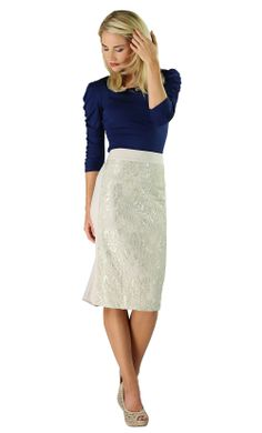 Modest Skirts: Lace Panel in Cream