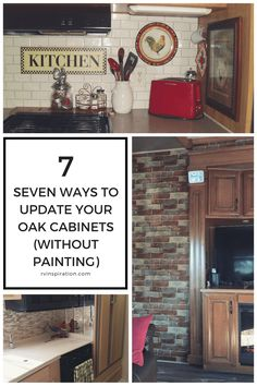 7 Ideas for Updating Wood RV Cabinets (Without Painting Them) – Update Your Kitchen Cabinets Updating Oak Cabinets, Renovations, Kitchen Renovation, Rv Cabinets, Oak Kitchen Cabinets, Built In Cabinets, Oak Kitchen, Cabinet, Honey Oak Cabinets