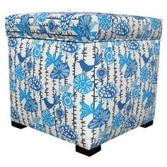Pairing chic style with versatile design, this storage essential brings effortless organization to your home.Product: Ottoman    Construction Material: Wood and upholstery fabric    Color: Blue            Dimensions: 17 H x 18 W x 18 D      Cleaning and Care: Clean with a soft cloth