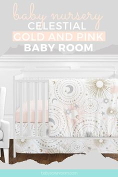Decorate your baby's room with this whimsical gold, silver and baby pink celestial themed baby crib set. Quickly create this modern and soft nursery decor for your adorable bundle of joy!