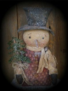 Primitive Olde Snowman Cupboard Stump Doll With Feather Tree #NaivePrimitive