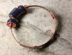 Copper & Lampwork Bangle - Blue by IronMountainArts on Etsy