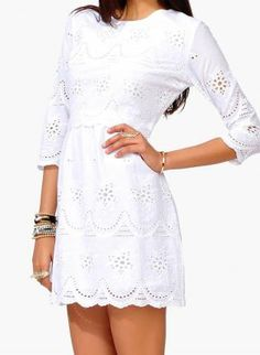 white eyelet dress - chic and casual summer dress