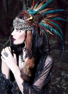 """brown and teal feathered beaded furred headdress = """"Pagan Love Song"""" by Vlad Savin 2013"""