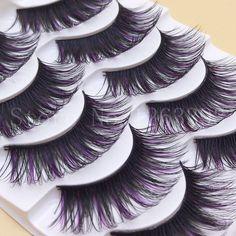G102 Pourpre ET Noir Faux Cils Couleur Maquillage Outil Allongement Épais Faux Cils Naturel Faux Cils Arène Cils