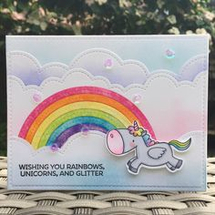 I managed to make one of the unicorns into a card. I used lots of distress inks for the rainbow and background clouds. The idea for the coloured clouds came from a card that @amyrysavy posted the other day. I love how this turned out. Details of the supplies I used are on my blog, link in profile. #cardmaking #mftstamps #birdiebrown #magicalunicorns #copiccoloring #distressink #lawnfawn #heymamaelephant