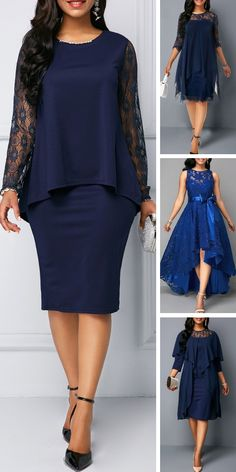 Lace Panel Bowknot Back Overlay Embellished Stand out this fall and winter for all the right reasons with fashion dress. Blue Dresses For Women, Office Dresses For Women, Womens Dress Suits, Classy Work Outfits, Classy Dress, African Fashion Dresses, African Dress, Elegant Dresses, Casual Dresses