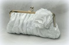 Couture Lace Kisslock:  White Bridal Clutch. $65.00, via Etsy.