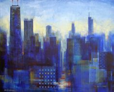 """Chicago Art Print - """"Chicago View - In The Mist"""" from Chicago Skyline Art - Paintings"""