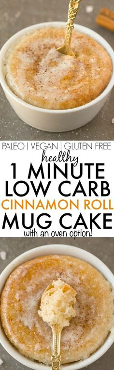 Healthy 1 Minute LOW CARB Cinnamon Roll Mug Cake- Light, fluffy and moist in the… Paleo Mug Cake, Mug Cake Healthy, Healthy Mug Recipes, Gluten Free Mug Cake, Vegan Keto Recipes, Vegan Mug Cakes, Vanilla Keto Mug Cake, Keto Mug Bread, Vegan Keto Diet
