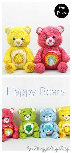 These colorful and happy Bears Amigurumi will be great toys for children to play with. The Rainbow Bears Free Crochet Pattern is really fun to make and a quick and easy project. Crochet Teddy Bear Pattern Free, Teddy Bear Patterns Free, Easy Crochet Patterns, Crochet Patterns Amigurumi, Crochet Toys, Free Crochet, Free Pattern, Crochet Baby, Teddy Ruxpin