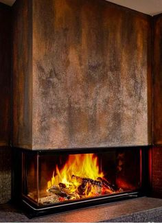The Best Amazing Fireplace Tile Ideas for Your Living Room : The rust look is the architectural fireplace Eck von B … – Fireplace Logs, Modern Fireplace, Living Room With Fireplace, Fireplace Design, Fireplace Ideas, Indoor Gas Fireplace, Fireplace Remodel, Chimenea Simple, Rock Fireplaces