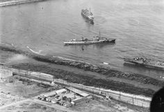 Aerial photograph from a USS Ranger plane showing three badly damaged French warships beached at Casablanca, French Morocco, 11 Nov 1942. They were damaged in the Battle of Casablanca 8 Nov 1942