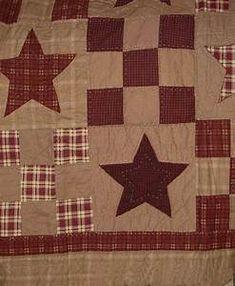 Primitive americana vintage star twin cotton quilt ...