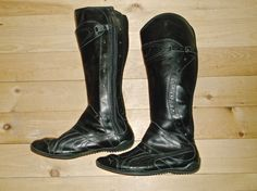 Puma Womens Tall Sneaker Boots Winter Shoes Black Leather Motorcycle Size 7 $140 #PUMA #Motorcycle