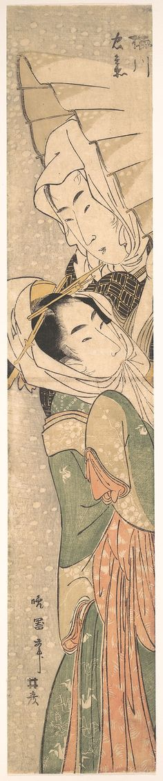 Girl and Lover in Snow, early 19th century, by Koikawa Harumasa (Japanese, active 1800–1820). Edo period (1615–1868) | The Metropolitan Museum of Art, NY