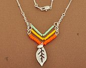 Neon Native Inspired Necklace, Opaque Orange, Sunshine Yellow, Light Mint Green, Seed Beads, Leaf Pendant, Retro, Necklace #EasyPin