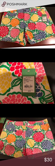 """Lilly Pulitzer shorts. These Lilly Pulitzer 13"""" shorts are new with tags and are in brand new condition. They are multicolored and can be paired with many different color tops. It has a zippered front. Lilly Pulitzer Shorts"""