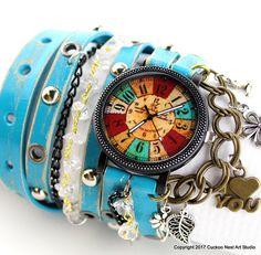 Hippie leather watch Women's wrist watch Rustic wrap