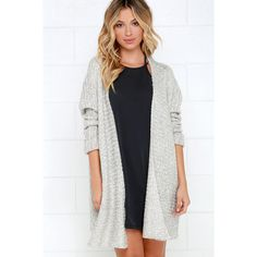 Cup of Cozy Light Grey Cardigan Sweater ($60) ❤ liked on Polyvore featuring tops, cardigans, grey, long knit tops, long knit cardigan, light grey cardigan, drapey cardigan and draped open front cardigan
