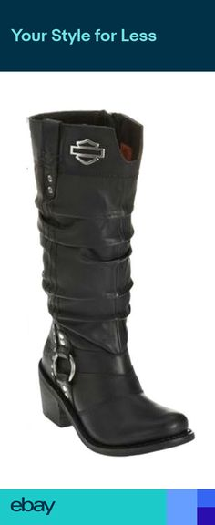 eedb7cd20e67 Harley-Davidson® Womens Jana Black Heels Leather Motorcycle Boots D83562