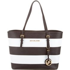 Pre-owned Michael Kors Jet Set Travel Stripe Tote ($195) ❤ liked on Polyvore featuring bags, handbags, tote bags, white, man bag, travel purse, travel tote, zippered tote and michael kors tote