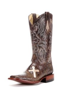 Ferrini Women's Cowhide Cross Vamp S-Toe Cowgirl Boot - Brown    http://www.countryoutfitter.com/products/33926-womens-cowhide-cross-vamp-brown #cowgirlboots