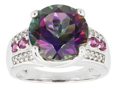 5.10ct Round Mystic(R) Green Topaz And .16ctw Rhodolite With .04ctw White Topaz Silver Ring
