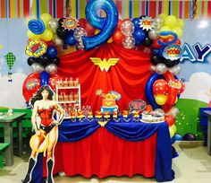 best ideas about Wonder Woman Superman Party, Girl Superhero Party, Wonder Woman Birthday, Wonder Woman Party, Birthday Woman, Wonder Woman Cake, Anniversaire Wonder Woman, Bday Girl, 1st Birthday Parties