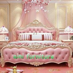 Pink bed and carpet