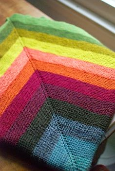 Nice log cabin knitted blanket byThrough The Loops