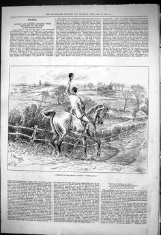 Antique Print of 1876 Sketch Quorn Country Hunting Man Horse