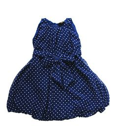 Look what I found on #zulily! Navy Polka Dot Bubble Dress - Toddler & Girls #zulilyfinds