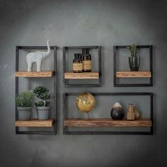 Combined wall shelf Edge Kombi Wandregal Edge I The combi wall shelf Edge consists of several individual wall shelves. The shelves consist of a shelf made of solid acacia wood and a … - Modern Floating Shelves, Home Decor Shelves, Grey Home Decor, Modern Wall Decor, Wood Wall Shelf, Unique Wall Shelves, Shelves For Walls, Wall Shelf Decor, Corner Shelves
