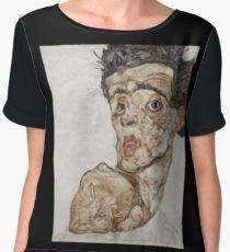 Egon Schiele - Self-Portrait with Raised Bare Shoulder 1912  Expressionism  Portrait Blusa