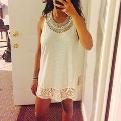 """Sale Cream top/dress  New! Material is so soft & comfy !! Model wearing size : small & 5""""2 / 115 lbs! Super cute !! I have in small. Price is firm no trades unknown brand. *** not from free people ***Necklace is not included Anthropologie Tops"""