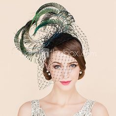 Women's Feather / Tulle Headpiece-Wedding / Special Occasion / Casual Fascinators / Hats 1 Piece Green Irregular None 2016 - $42.49