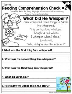 Reading Comprehension Check for Digraphs- These NO PREP Packets are full of fun ways to learn and practice digraphs! Perfect for first and second grade to help build fluency! First Grade Reading Comprehension, Reading Comprehension Worksheets, Reading Fluency, Reading Passages, Kindergarten Reading, Reading Activities, Reading Skills, Teaching Reading, Comprehension Strategies