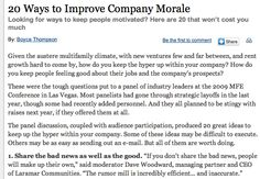 20 Ways to Improve Company Morale: http://www.multifamilyexecutive.com/human-resources/20-ways-to-improve-company-morale.aspx