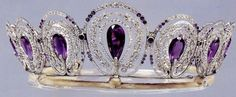 Known as the Mystery Amethyst Tiara of Queen Alexandra because its providence is unclear this tiara features 5 hexagonally cut amethysts, 13 old European cut diamonds totalling approximately 8.5 carats, 69 old European cut diamonds totalling 10 carats, a variety of smaller old-mine and rose cut diamonds totalling roughly 5 carats and it is mounted in silver and gold and numerous smaller old-mine and rose-cut diamonds weighing approximately 5.00 carats.
