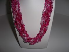 Crochet Ladder Lace Necklace Trellis Ribbon Lace Fiber Yarn Shades of Pink for Valentine's Day