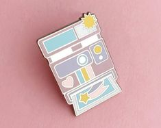 Cute Camera, Instant Camera, Pin And Patches, Pin Badges, Uk Shop, Purple, Pink, Polaroid, Enamel