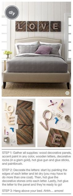 What's love got to do with it? Everything! This DIY will add a sweet, personal touch to your bedroom wall (or any room) in just a few simple steps. What you need: Threshold Wood Decorative Panels, Hand Made Modern Wooden Letters and Paint, paintbrush, Threshold Vase Filler, and a hot glue gun and glue sticks. Take your time with the stones—they require puzzle-like patience. But the desired, full-coverage look will be worth the time.