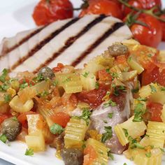 Tuna steaks w/sweet and sour celery: Love Celery - Celery recipes, soups, salads, snacks and more