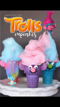Troll movie themed party dessert cupcakes idea!