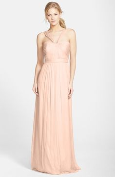 Amsale X-Strap Silk Chiffon Gown available at #Nordstrom-Bellini,Blush,Dove,Fawn,Ice,Navy-$310.00