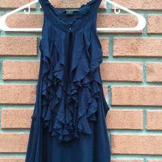 """Twenty One NWOT Ruffle navy dress..large..new 97% Raton 3% spandex..size large measures 32"""" bust..36"""" length Twenty one Dresses"""