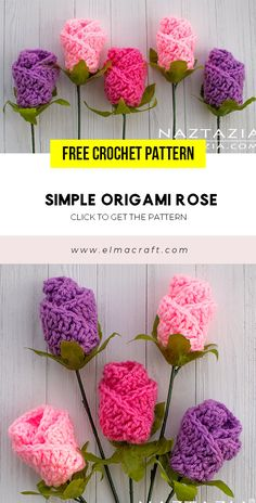 Simple Origami Rose FREE Pattern – FREE Crochet flower Pattern for Beginners. C… – Share a Pattern – Crochet and Knitting Pattern - Crochet Origami Rose, Origami Simple, Origami Flowers, Crochet Butterfly Pattern, Easter Crochet Patterns, Pattern Flower, Free Crochet Flower Patterns, Crochet Leaves, Crochet Flowers