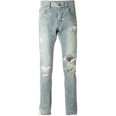 Saint Laurent distressed skinny jeans ❤ liked on Polyvore featuring jeans, distressed jeans, white ripped jeans, destroyed skinny jeans, denim skinny jeans and ripped jeans