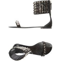 BALMAIN Sandals ($590) ❤ liked on Polyvore featuring shoes, sandals, black, leather shoes, leather flats, studded sandals, studded flats and flats sandals